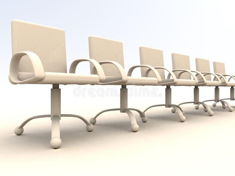 Rij van bureaustoelen vector illustratie