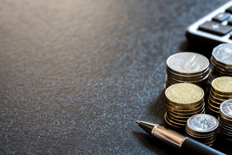 Rij van concept van muntstukken het Australische financiën royalty-vrije stock foto