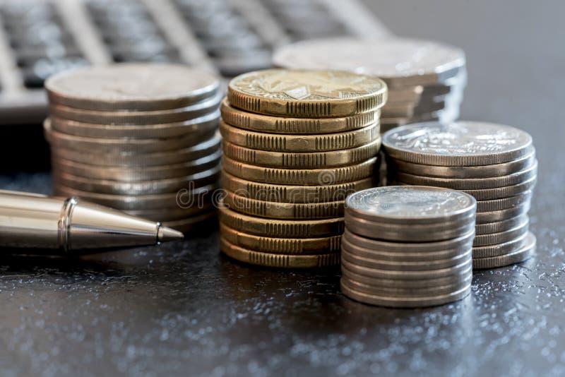 Rij van concept van muntstukken het Australische financiën stock afbeelding