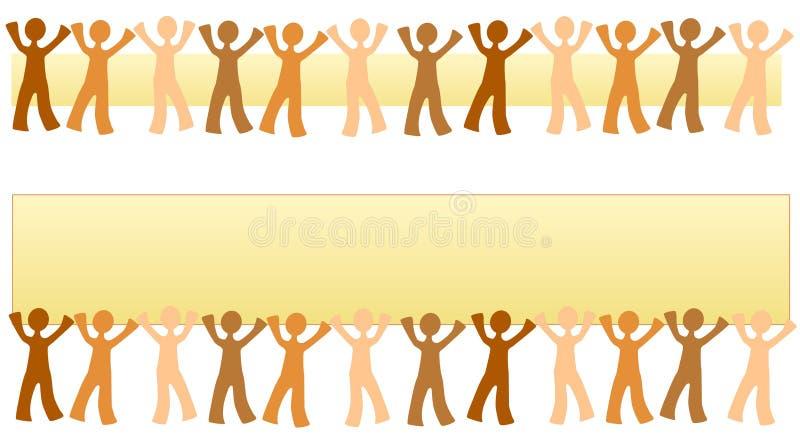 Rij van de Banners van Mensen stock illustratie