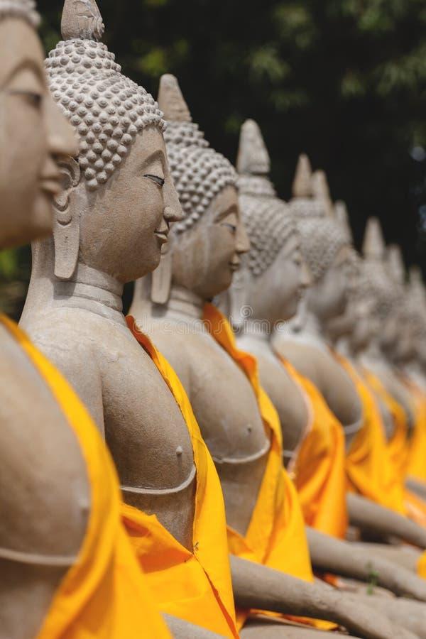 Rij van de standbeelden van Boedha in Ayutthaya stock foto's