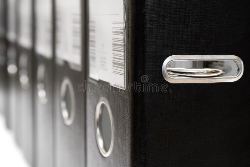 Rij van de Zwarte Dossiers van de Hefboom van de Boog royalty-vrije stock foto's