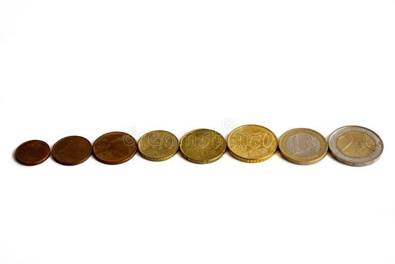 Rij van euro muntstukken van verschillende waarden stock fotografie