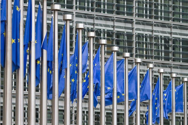 Rij van Europa vlaggen stock afbeeldingen