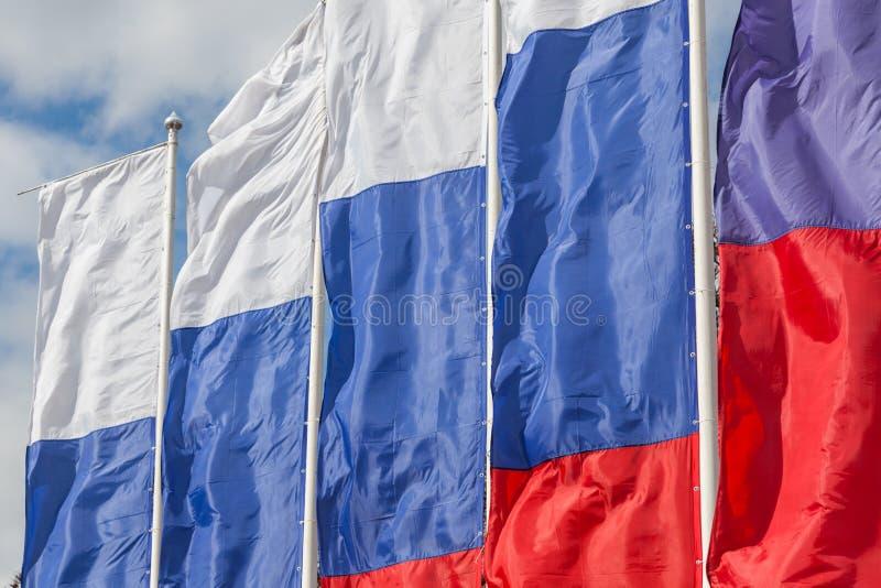 Rij van feestelijke vlaggen stock afbeeldingen