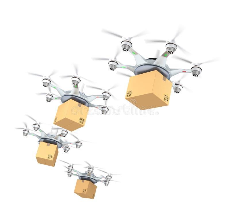 Rij van het kartonpakketten van de hommelslevering voor leveringsconcept
