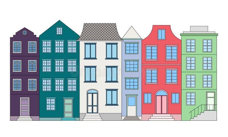 Rij van kleurenhuizen, vectorillustratie stock illustratie