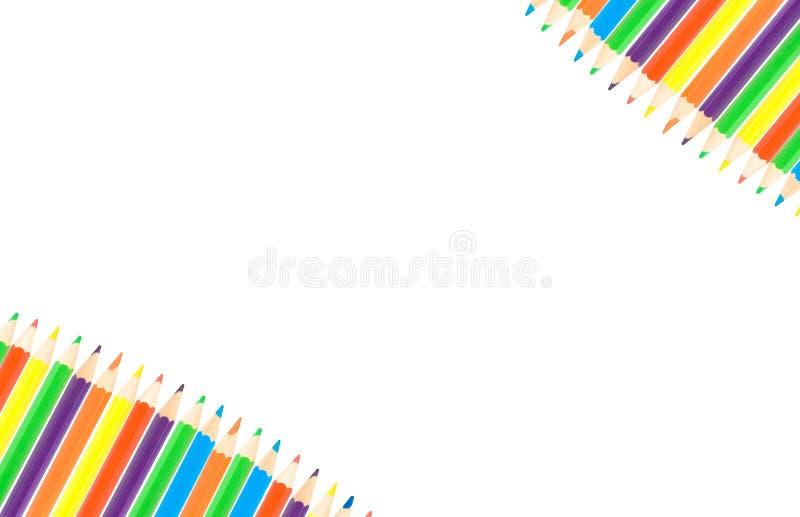 Rij van kleurenpotloden royalty-vrije stock afbeeldingen