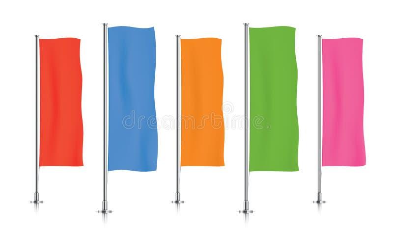 Rij van kleurrijke verticale bannervlaggen royalty-vrije illustratie