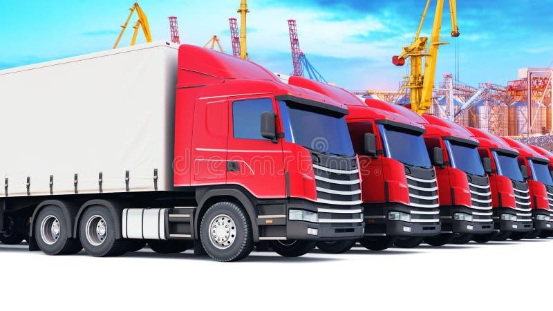 Rij van ladingsvrachtwagens bij de zeehaven royalty-vrije illustratie