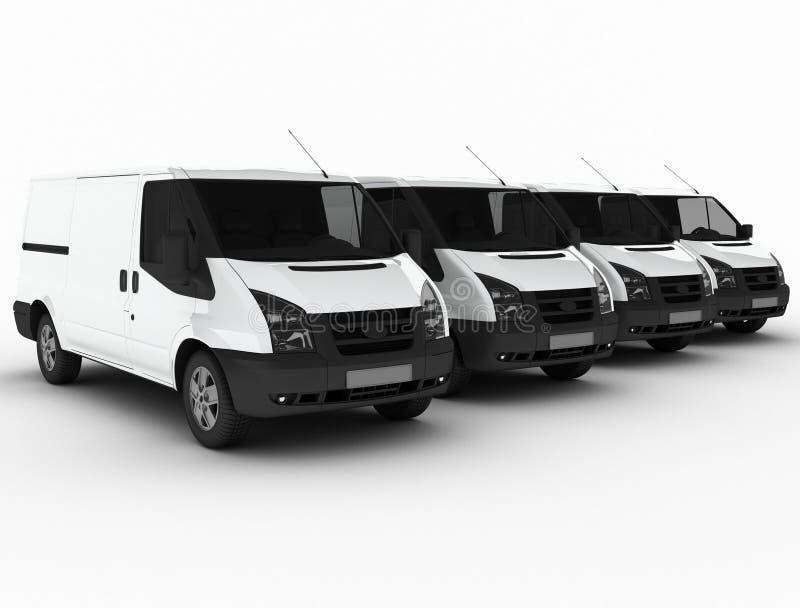 Rij van leveringsbestelwagens vector illustratie
