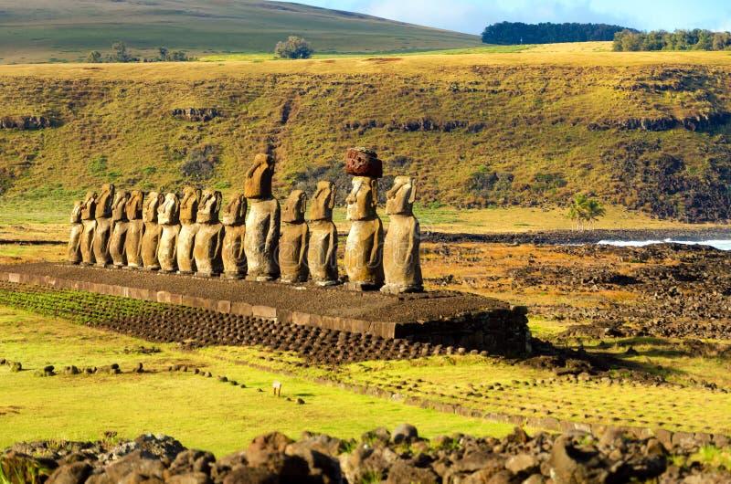 Rij van Moai royalty-vrije stock foto's