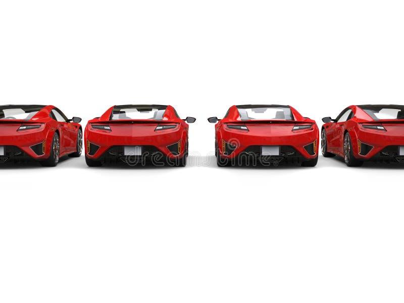 Rij van moderne luxesportwagens - achtermening stock afbeelding