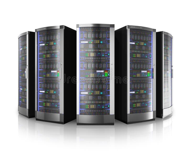 Rij van netwerkservers in gegevenscentrum vector illustratie