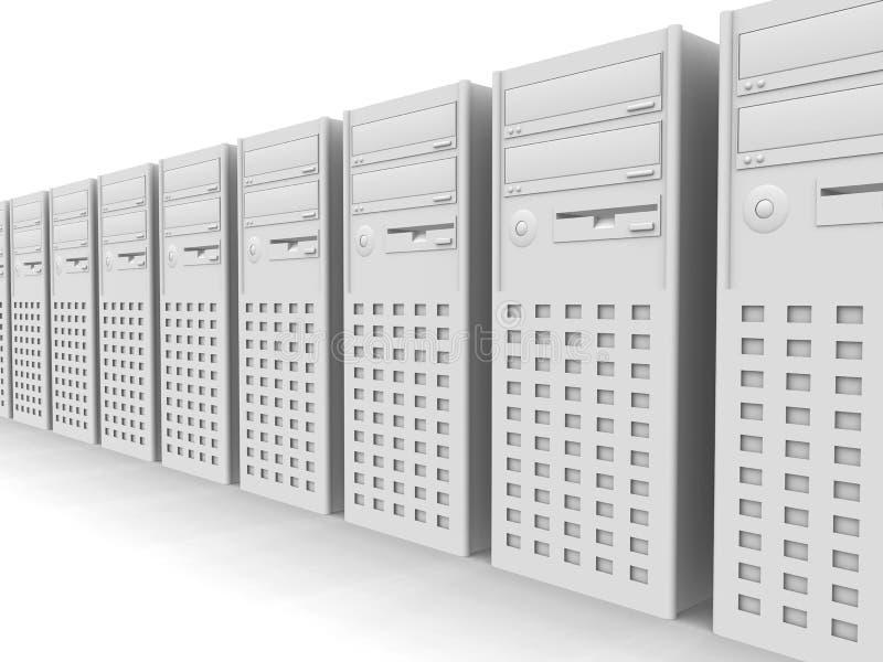 Rij van PCs vector illustratie