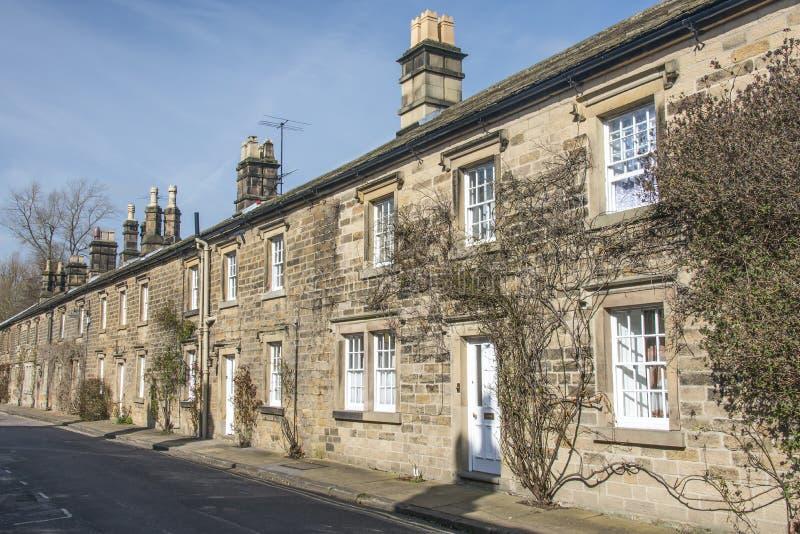 Rij van plattelandshuisjes in Bakewell, Derbyshire royalty-vrije stock afbeeldingen