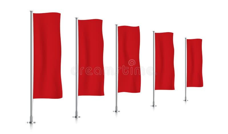 Rij van rode verticale bannervlaggen stock foto