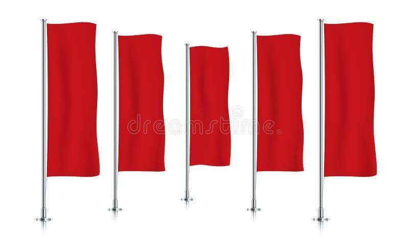Rij van rode verticale bannervlaggen stock foto's