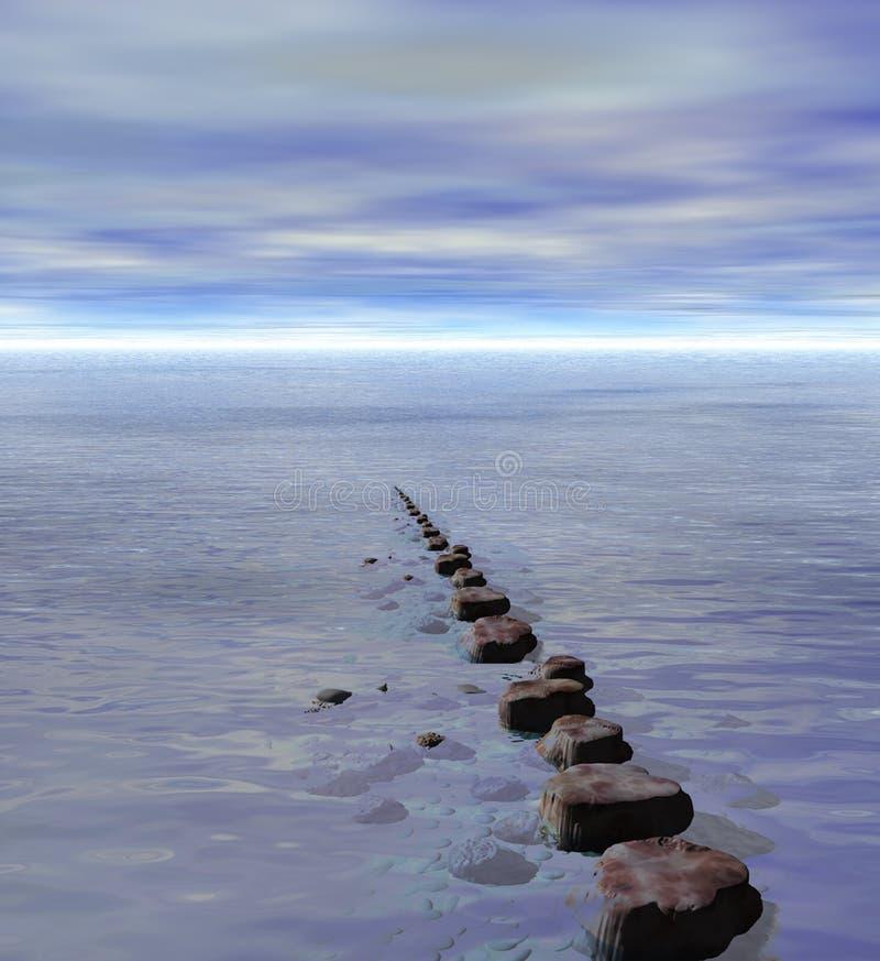 Rij van Springplanken aan Oceaan Overzeese Horizon royalty-vrije illustratie