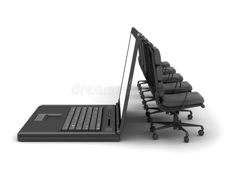 Rij van stoelen en laptop royalty-vrije illustratie