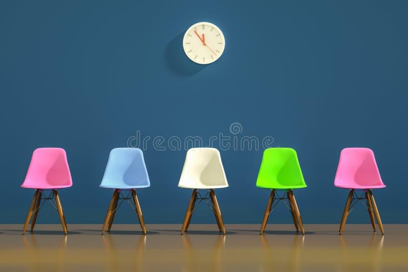 Rij stoelen met een oneven uitstapje Werkgelegenheid Zakelijk leiderschap aanwervingsconcept 3D-rendering vector illustratie