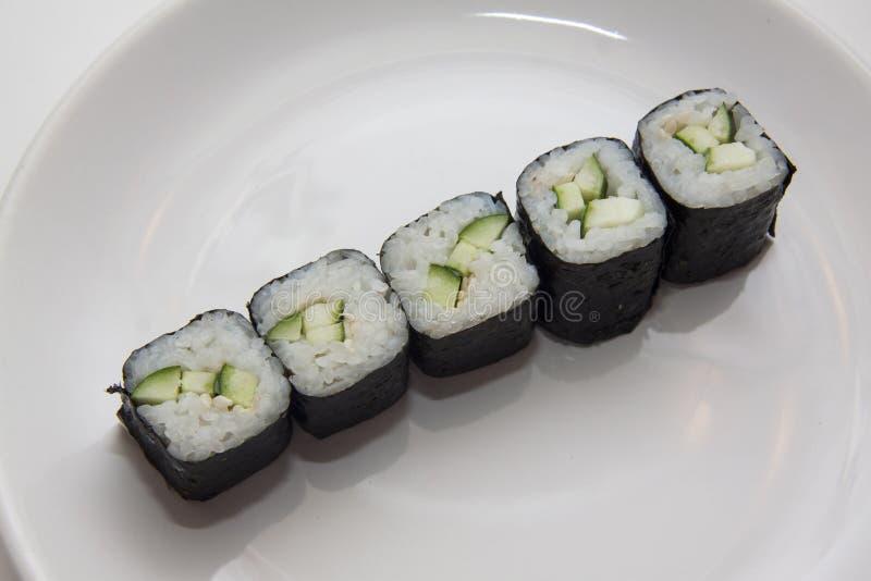 Rij van vegetarische maki royalty-vrije stock foto