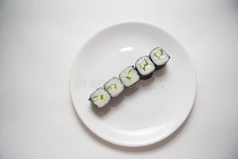 Rij van vegetarische maki royalty-vrije stock foto's
