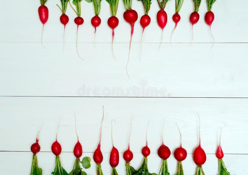 Rij van verse organische rode radijzen met bovenkanten op witte houten achtergrond Hoogste mening Plantaardige achtergrond Vrije  royalty-vrije stock foto's