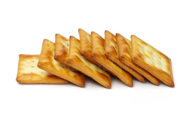 Rij van vierkante crackers royalty-vrije stock fotografie