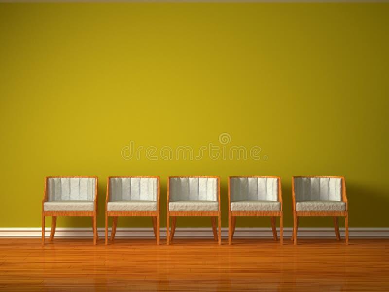 Rij van vijf stoelen vector illustratie