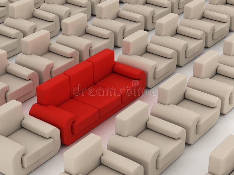 Rij van witte leunstoelen en rode bank. royalty-vrije illustratie