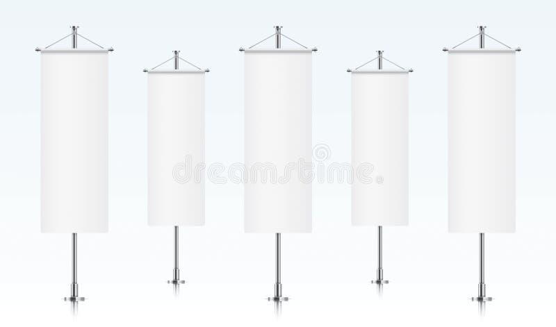Rij van witte verticale bannervlaggen vector illustratie