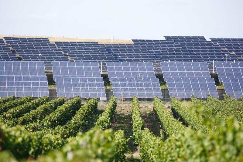 Rij van zonnepanelen royalty-vrije stock foto's