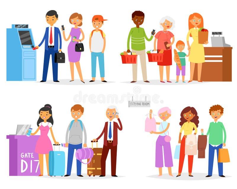 Rij vectormensen die lijn wachten die in lange rij in supermarkt aan luchthavenpoort of ATM-illustratiereeks een rij vormen van v vector illustratie