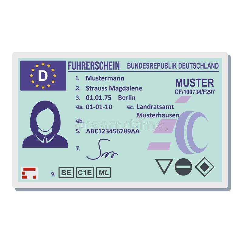 Rijbewijs voor het pictogram van Berlijn, vlakke stijl stock illustratie