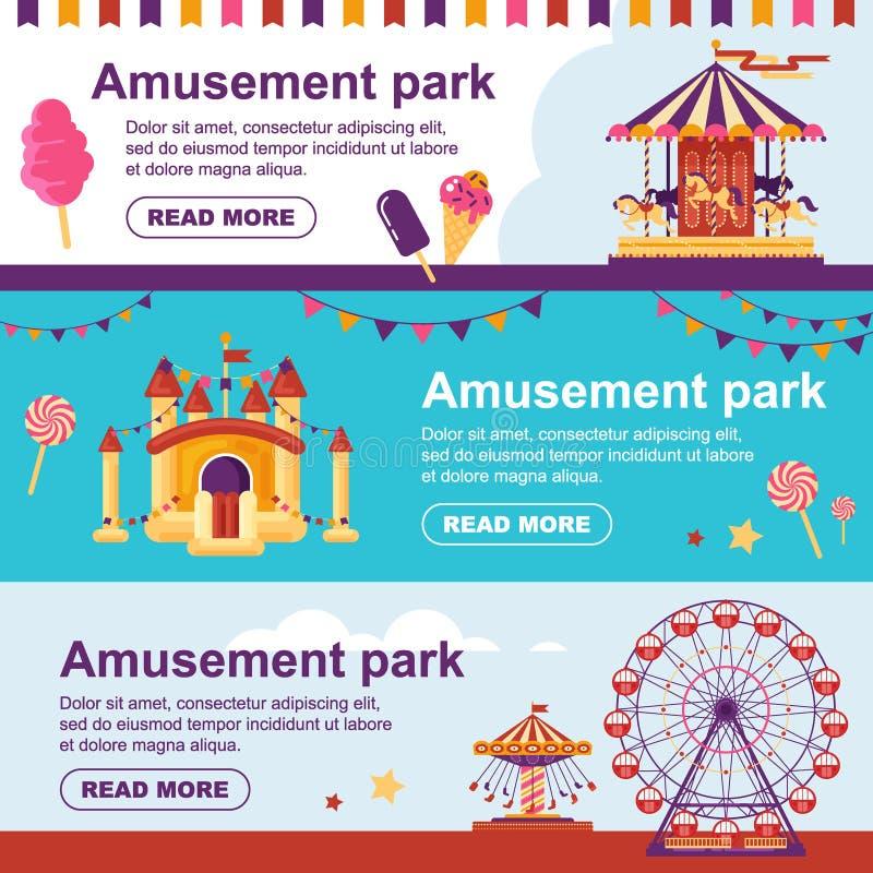 Rijdt de pretpark horizontale banner met carrousel, vlaggen, opblaasbaar trampolinekasteel, ferris Vastgestelde familie royalty-vrije illustratie