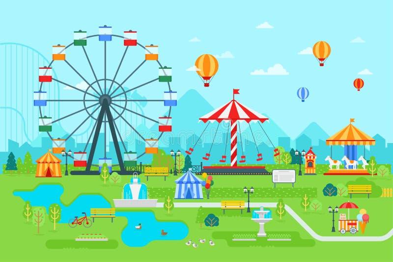 Rijdt de pretpark vector vlakke illustratie bij dag met ferris, circus, carrousel, aantrekkelijkheden, landschap en stad vector illustratie