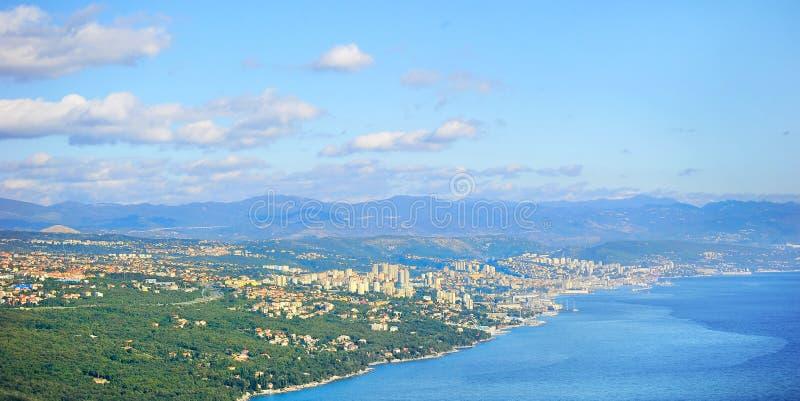 Rijeka city, Croatia. Landscape with Rijeka city, Alps mountains and Adriatic sea. Croatia stock photo