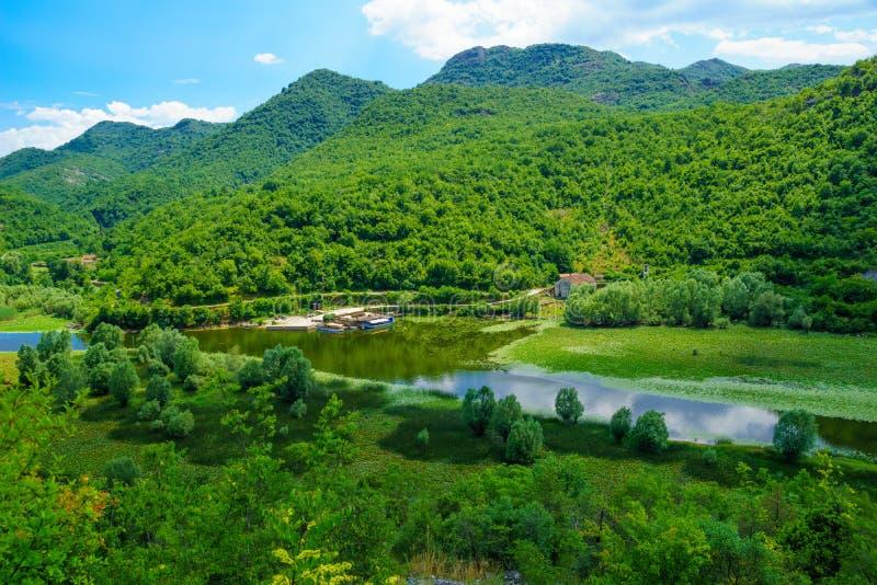 Rijeka Crnojevica, Skadar-Meer royalty-vrije stock foto's