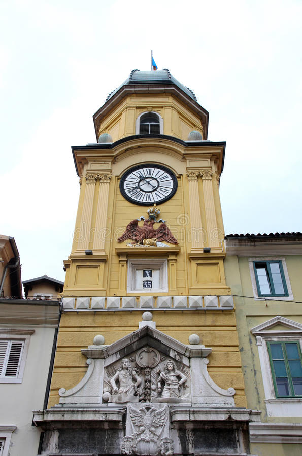 Rijeka, Croatia. The Baroque city clock tower in Rijeka, Croatia royalty free stock photos
