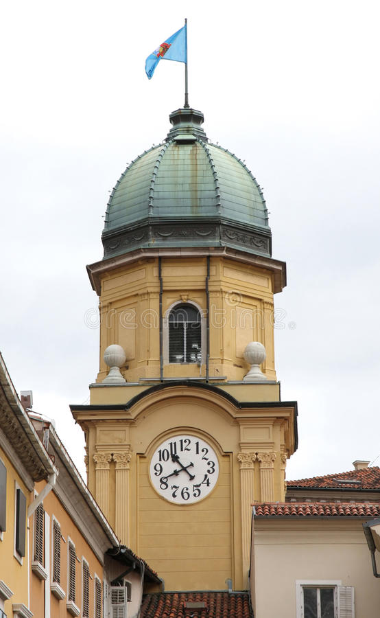 Rijeka, Croatia. The Baroque city clock tower in Rijeka, Croatia stock photography