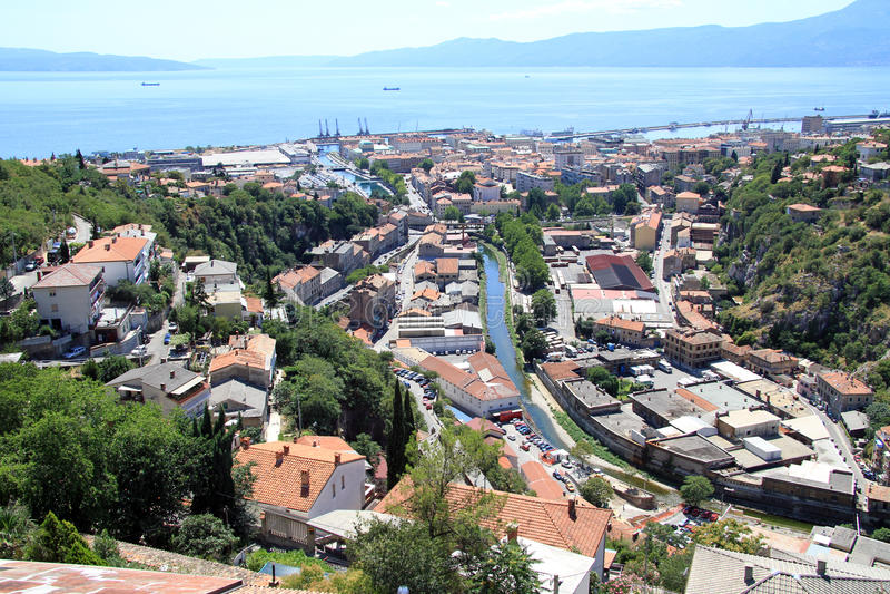 Rijeka in Croatia. View from Trsat castle on the roofs of Rijeka, Croatia royalty free stock image