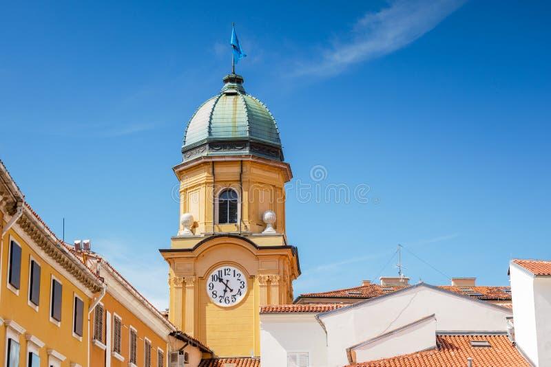 Rijeka, Croatia. Clock tower in the old town of Rijeka, Croatia stock image