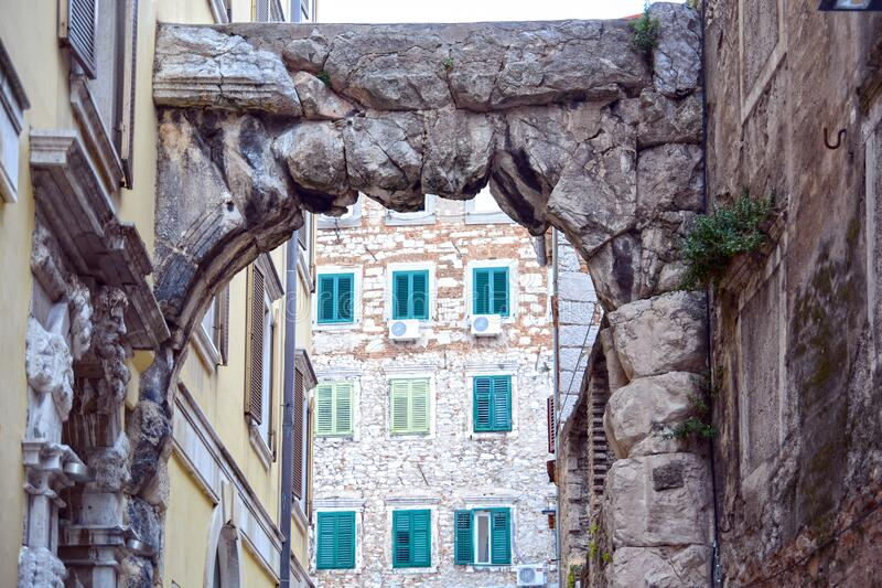 Rijeka Croatia, Old gateway stock photo