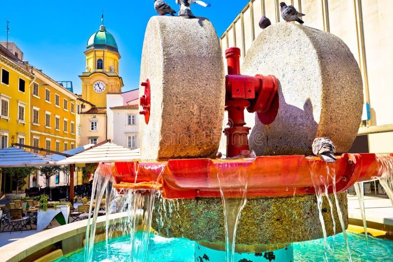 Rijeka square and fountain view with clock tower gate. Kvarner, Croatia stock photo