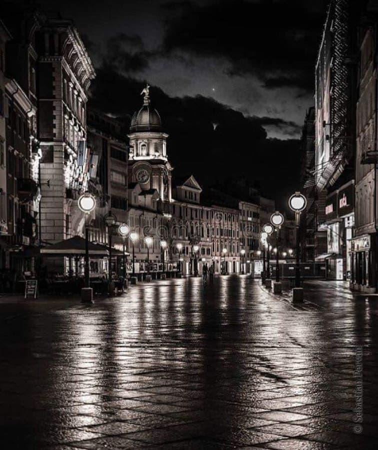 Rijeka stad royaltyfria foton