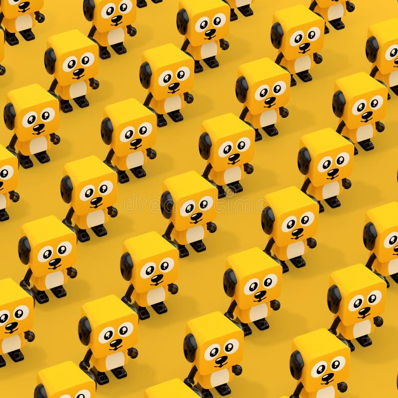Rijen Leuk Beeldverhaal Toy Dog Character Persons het 3d teruggeven royalty-vrije illustratie
