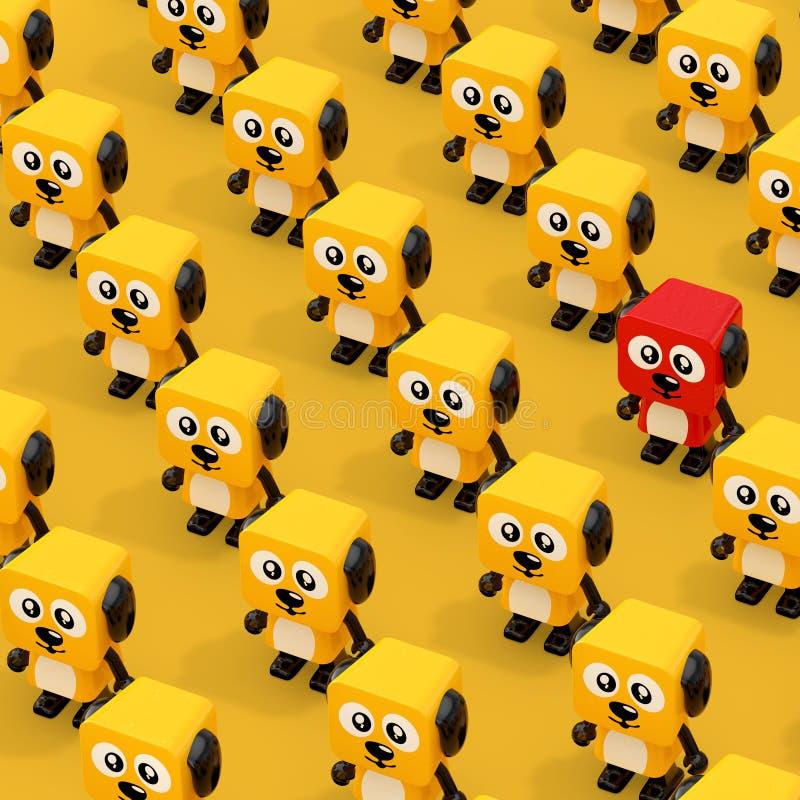 Rijen Leuk Beeldverhaal Toy Dog Character Persons met Één Rood het 3d teruggeven royalty-vrije illustratie