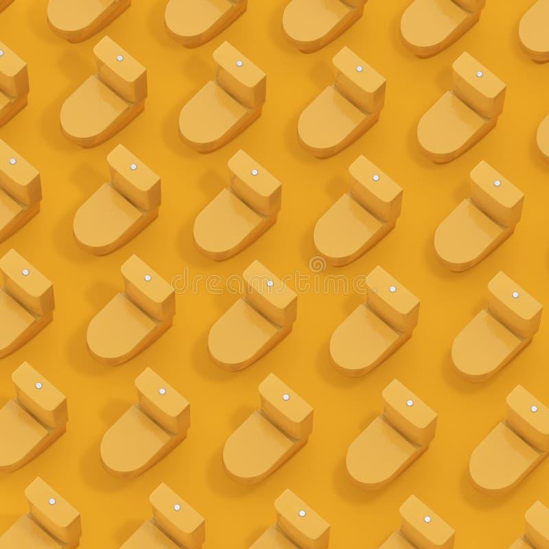 Rijen van Gele Isometrische Toiletkommen het 3d teruggeven royalty-vrije illustratie