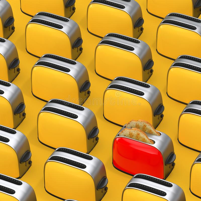 Rijen van Gele Uitstekende Broodroosters met Rode  het 3d teruggeven vector illustratie